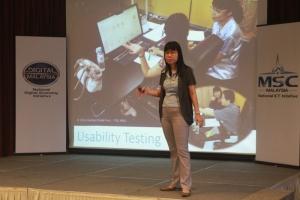 Chui Yin Wong speaking at UX Awareness Talk.